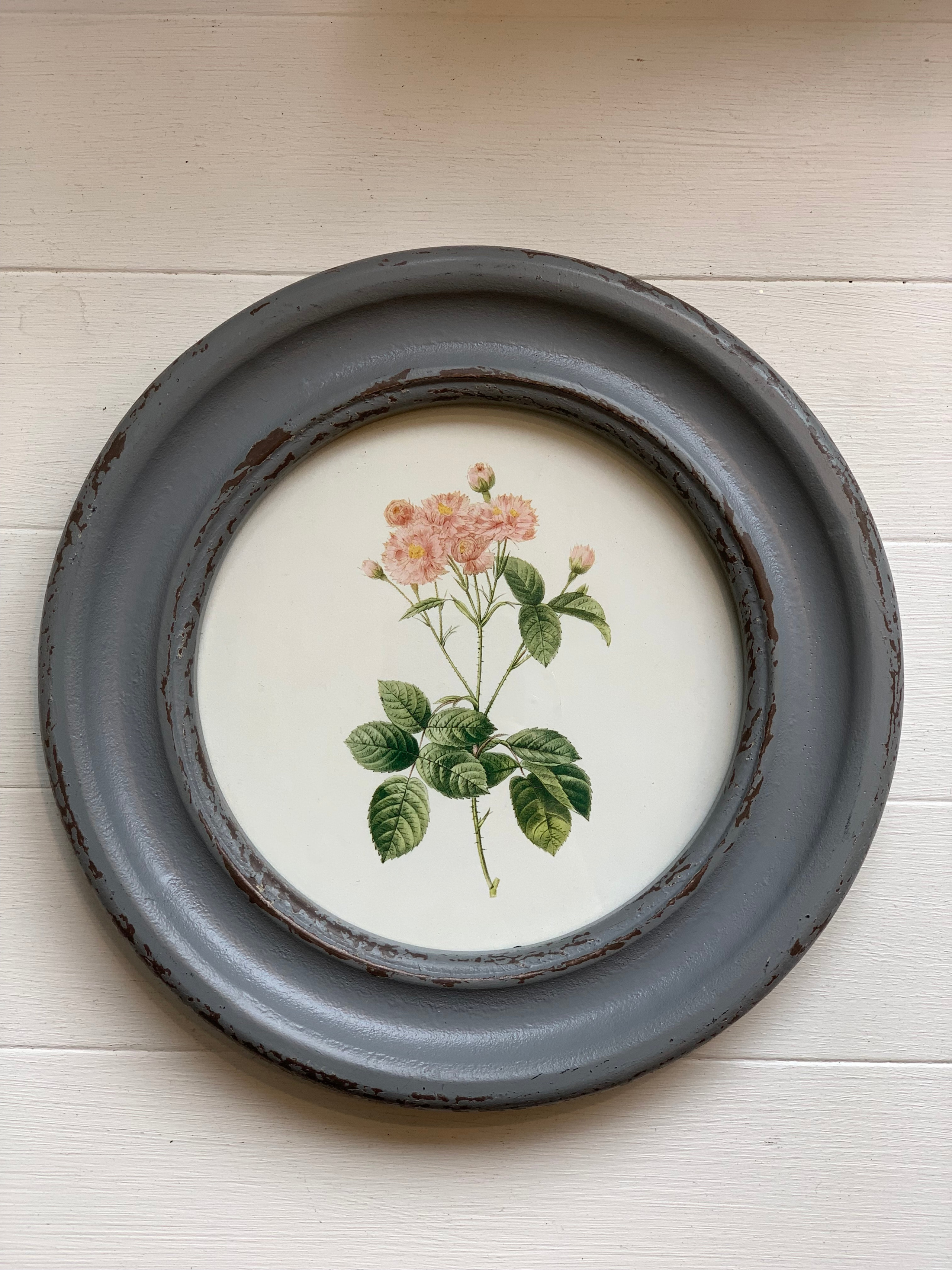Round Framed Vintage Style Rose Wall Decor Edwin Loy Home
